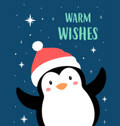 christmas card with cute cartoon penguin vector image