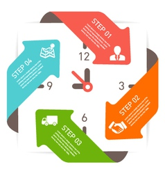 Clock info graphic vector