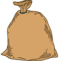 Closed brown canvas bag vector