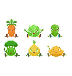 collection cute vegetables cartoon characters vector image