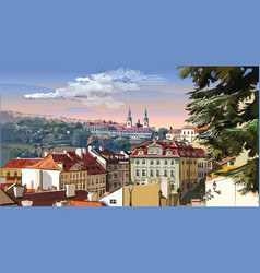 Colorful hand drawing prague 3 vector