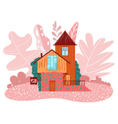 cozy little fairy house on pink landscape cottage vector image