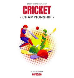 Cricket championship concept banner cartoon style vector