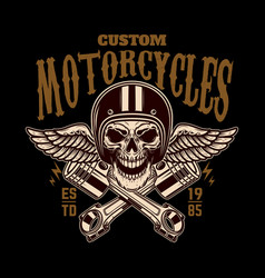 custom motorcycles vintage racer skull in winged vector image