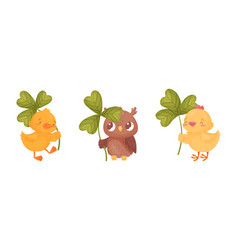 Cute baanimals with three leaf clover set vector