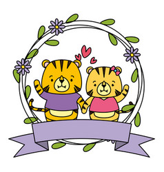 cute couple tigers animals wreath flowers vector image