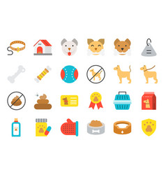 cute dog related icon set such as collar pet not vector image