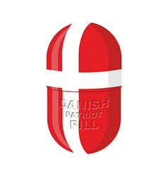 Danish patriotic pill Denmark Capsule flag vector