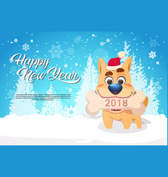 dog in santa hat holding bone with 2018 sign over vector image