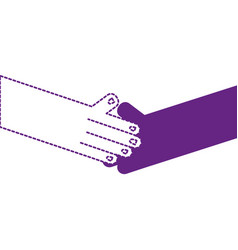 Dotted shape humans shaking hands with fingers and vector