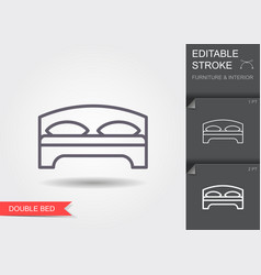 double bed line icon with editable stroke with vector image