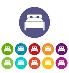 Double bed set icons vector image