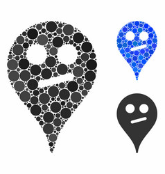 Doubt smiley map marker mosaic icon spheric vector