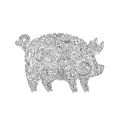 Drawing zentangle pig for coloring book for adult vector