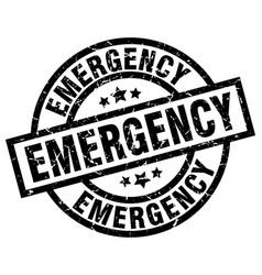 Emergency round grunge black stamp vector