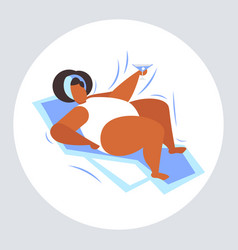 Fat obese woman sunbathing overweight african vector