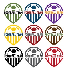 football team labels set vector image