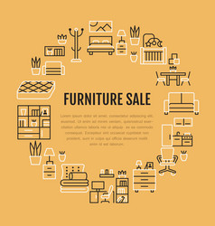 furniture sale banner with flat line vector image