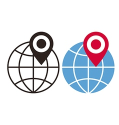 Globe and map pin icons vector image