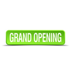 grand opening green 3d realistic square isolated vector image