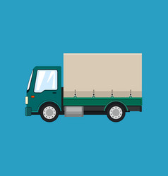 Green covered truck isolated vector
