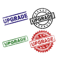grunge textured upgrade seal stamps vector image