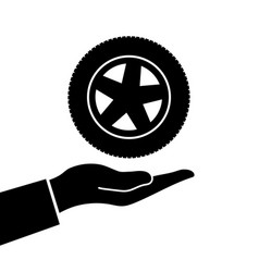 hand holds wheel vector image