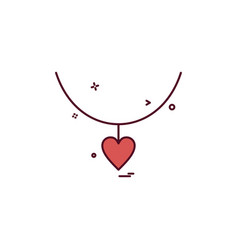 heart love gift necklace icon design vector image