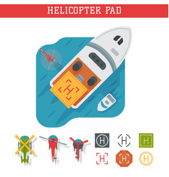 Helicopter pad landing ground landing area vector