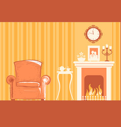 Home room interior with fireplace and chair for vector