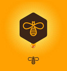 honey logo emblem bee hexagon drop vector image