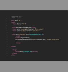 Html screen code program developer background vector