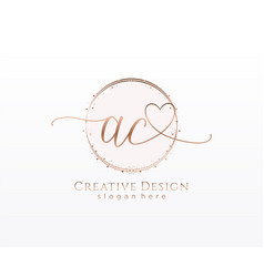 Initial ac handwriting logo with circle template vector