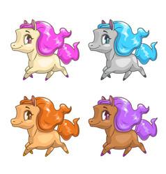 Little cute cartoon pony icons vector