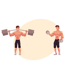 Man bodybuilder weightlifter working out vector
