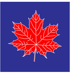 Maple leaf on blue backdrop vector