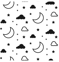 Moon and clouds seamless pattern vector image