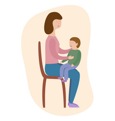 mother is sitting with her son on the chair vector image