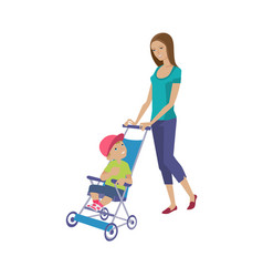 Mother walks with child spends time rolls baby vector