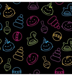 Multicolored seamless pattern with babies faces vector image