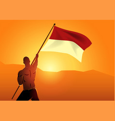 Muscular man holding flag indonesia vector