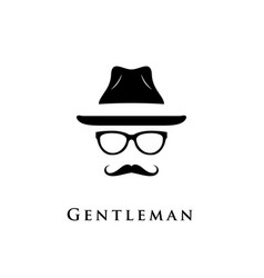 mustache glasses and a hat vector image