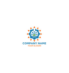 nature water air conditioner and heating logo desi vector image