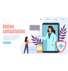 online doctor healthcare internet application vector image