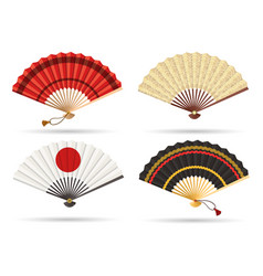 Oriental japan fan set vector