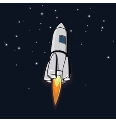 outer space with a rocket vector image