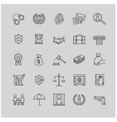 Outline icons set - law and lawyer services vector