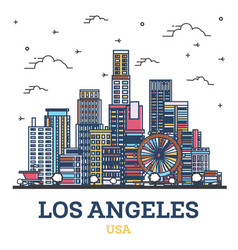 Outline los angeles california city skyline vector