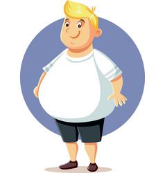 Plus size overweight man cartoon vector
