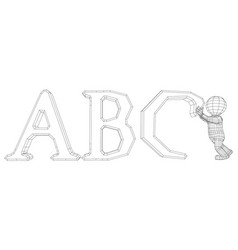 Puppet 3d man with abc vector
